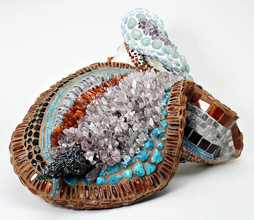 "Alice Bailey ""Abundance"" 15"" x 13"" x 10"" stone mosaic sculpture"
