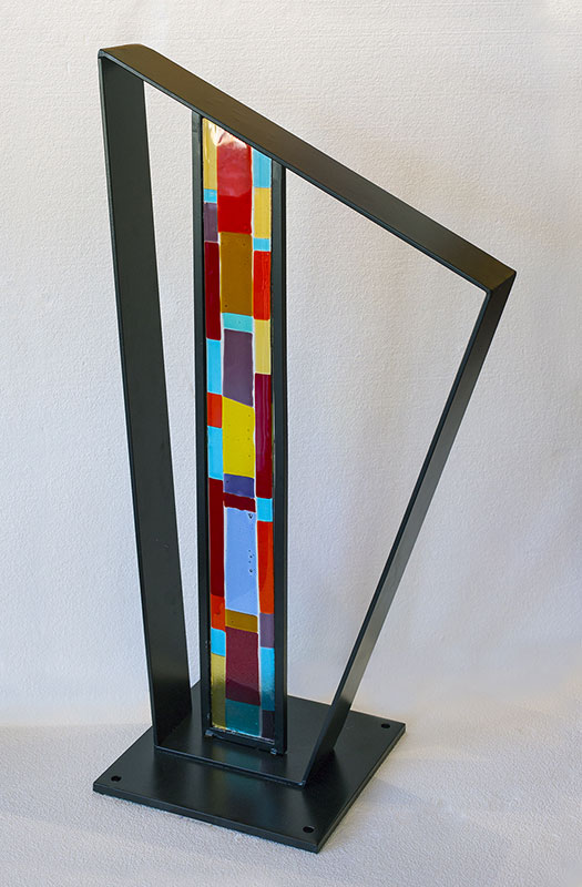 "Peter Eisner ""Column"" 37"" x 22"" x 4"" fused glass & steel"