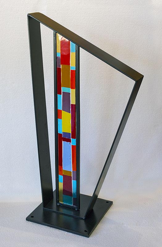 "Peter Eisner ""Column"" 37"" x 22"" x 4"" fused glass & steel"
